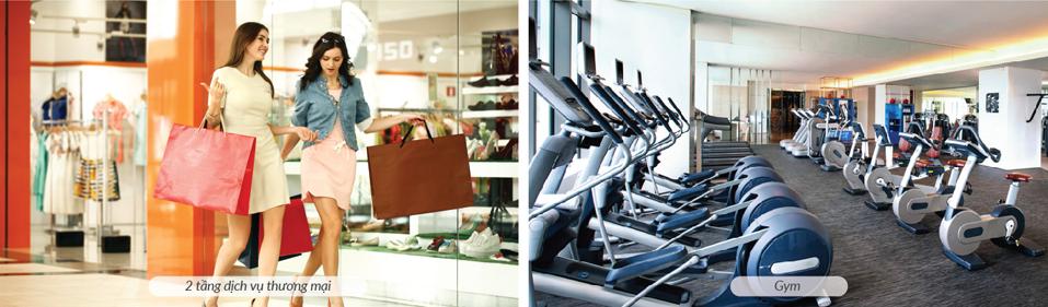 Trung tâm thương mại, phòng tập gym, tiện ích nội khu phong phú