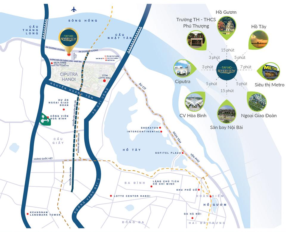 vị trí đắc địa của dự án Tây Hồ Riverview